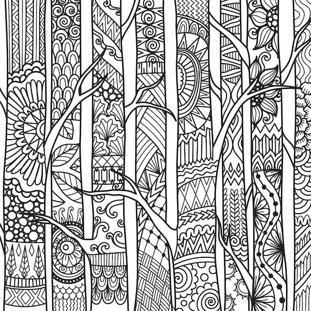 Styl zentangle drzew, kolorowanki