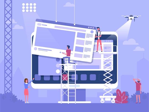 Styl życia lub koncepcja biznesowa dotycząca tworzenia stron internetowych, projektowania aplikacji lub reklam w mediach społecznościowych. kreatywny projekt płaski baneru internetowego, materiałów marketingowych, prezentacji biznesowych, reklamy online
