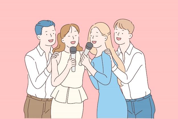 Styl życia młodzieży, impreza rozrywkowa i wakacyjna, pojęcie przyjaźni