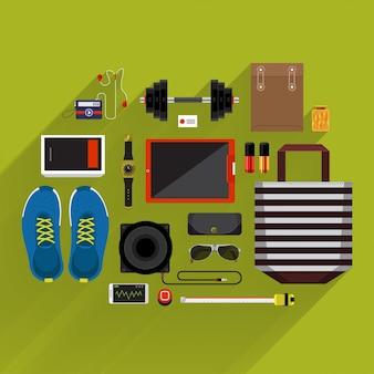 Styl życia przedmiotów i marketing w widoku z góry według platformy i długiego cienia
