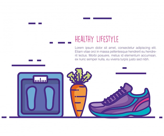 Styl życia zdrowy i fitness ustawić ikony