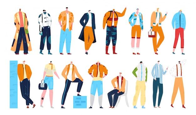Style mody mężczyzna, stylowe modele męskie w odzieży, zestaw ilustracji. kolekcja przystojny mężczyzna modnych postaci z kreskówek. fashionistki męskie w strojach.
