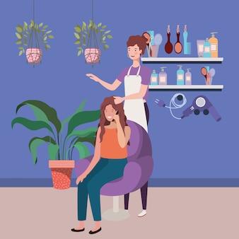Stylista mocujący włosy do klienta w postaciach salonowych