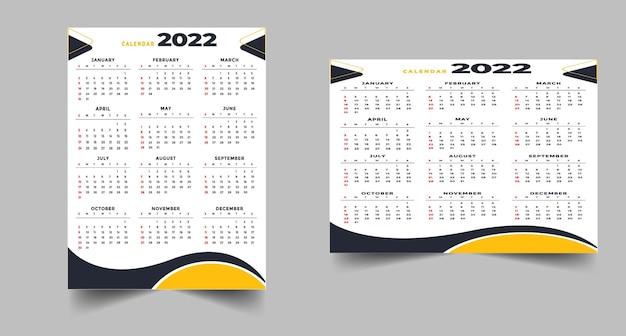 Stylista profesjonalny szablon projektu kalendarza czarno-żółtego 2022