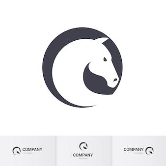 Stylizowana głowa białego konia w kręgu na szablon logo maskotki