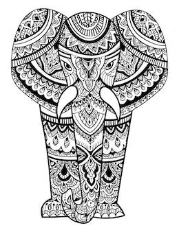 Stylizowana głowa słonia. ozdobny portret słonia. czarno-biały rysunek.