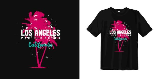 Stylizowana koszula i odzież los angeles pacific ocean california z sylwetkami drzew palmowych