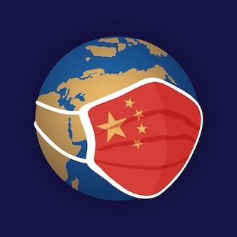 Stylizowana kula ziemska w kolorach niebieskim i żółtym, nosząca maskę medyczną z flagą chin nad terytorium chin