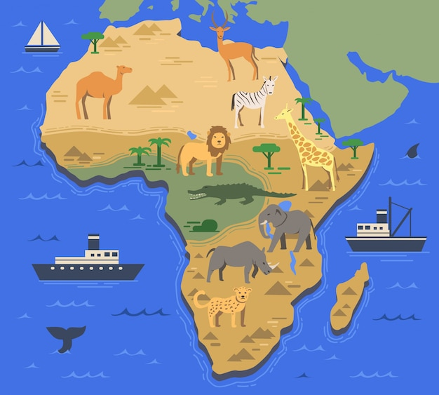 Stylizowana mapa afryki z miejscowymi zwierzętami i symbolami przyrody. prosta mapa geograficzna. ilustracja