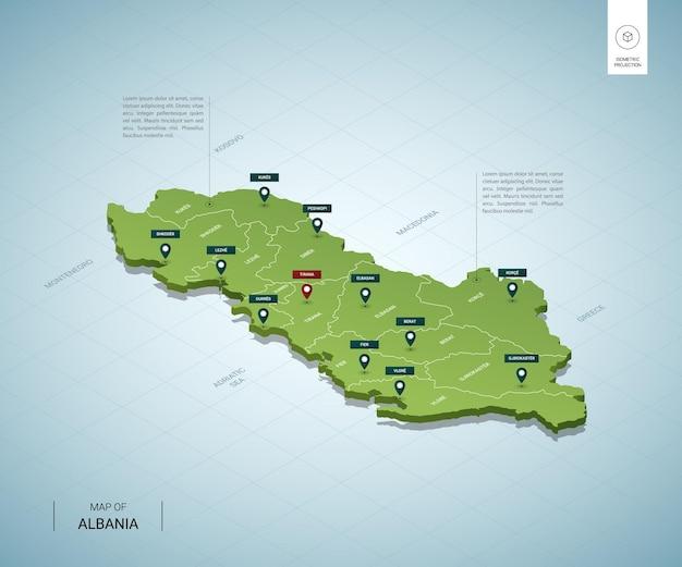 Stylizowana mapa albanii. izometryczna zielona mapa 3d z miastami, granicami, stolicą tirana i regionami.