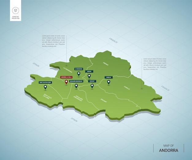 Stylizowana mapa andory. izometryczna zielona mapa 3d z miastami, granicami, stolicami i regionami.