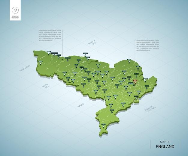 Stylizowana mapa anglii. izometryczna zielona mapa 3d z miastami, granicami, stolicą londynu i regionami.