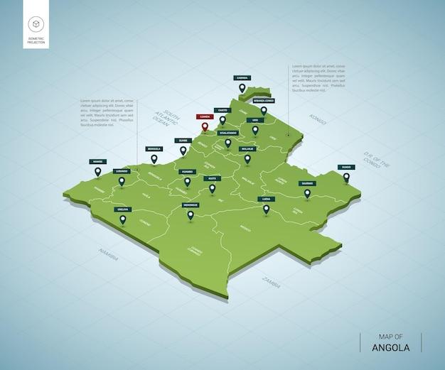 Stylizowana mapa angoli. izometryczna zielona mapa 3d z miastami, granicami, stolicą luandą i regionami.