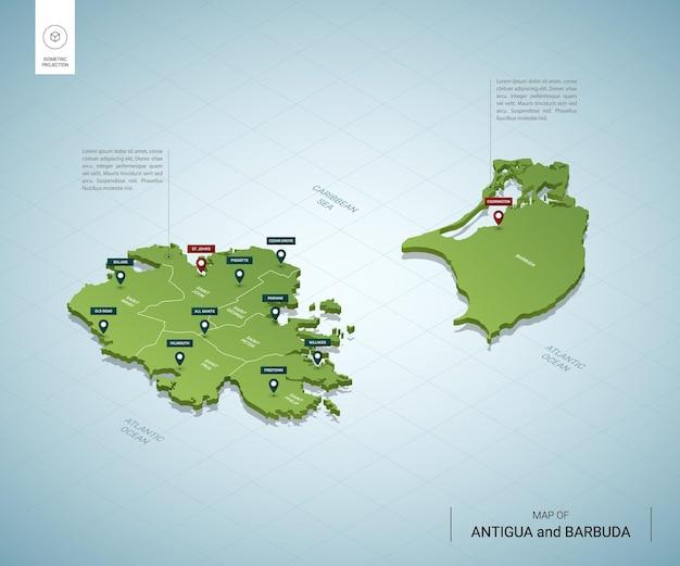 Stylizowana mapa antigui i barbudy. izometryczna zielona mapa 3d z miastami, granicami, stolicami i regionami.