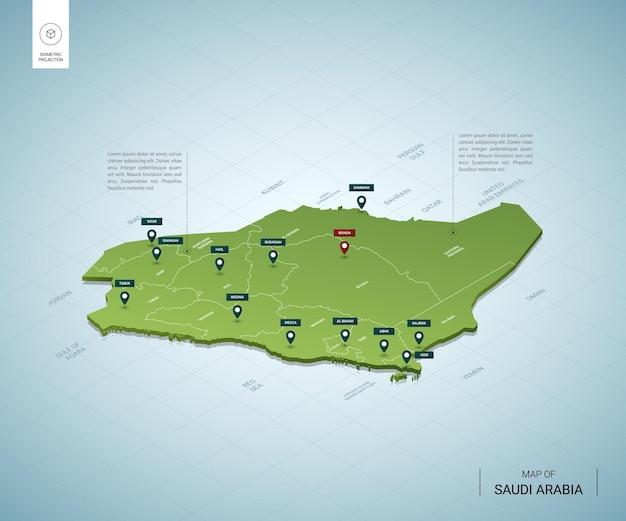 Stylizowana mapa arabii saudyjskiej. izometryczna zielona mapa 3d z miastami, granicami, stolicą rijad i regionami.