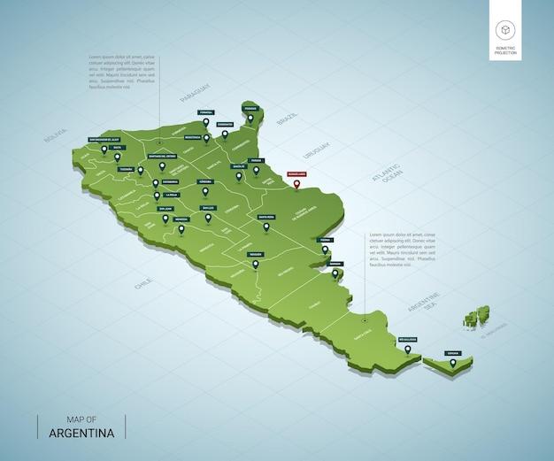 Stylizowana mapa argentyny. izometryczna zielona mapa 3d z miastami, granicami, stolicą buenos aires i regionami.