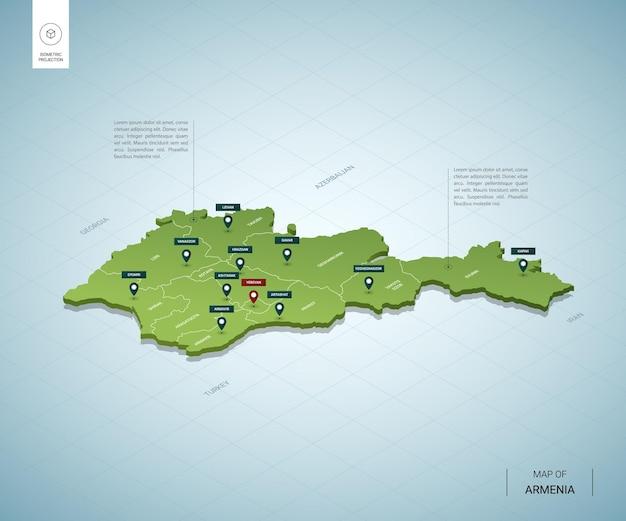 Stylizowana mapa armenii. izometryczna zielona mapa 3d z miastami, granicami, stolicą erewan i regionami.