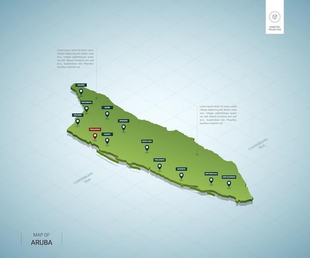 Stylizowana mapa aruby. izometryczna zielona mapa 3d z miastami, granicami, stolicą oranjestad i regionami.