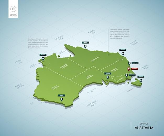 Stylizowana mapa australii. izometryczna zielona mapa 3d z miastami, granicami, stolicą canberra i regionami.