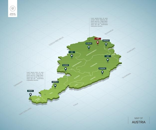 Stylizowana mapa austrii. izometryczna zielona mapa 3d z miastami, granicami, stolicą wiednia i regionami.