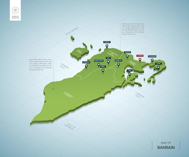 Stylizowana mapa bahrajnu. izometryczna zielona mapa 3d z miastami, granicami, stolicą manamą i regionami.