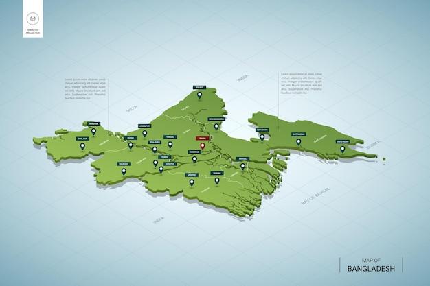 Stylizowana mapa bangladeszu. izometryczna zielona mapa 3d z miastami, granicami, stolicą dhaka i regionami.