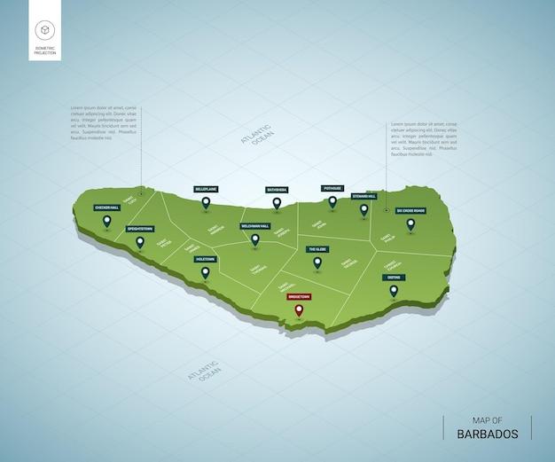 Stylizowana mapa barbadosu. izometryczna zielona mapa 3d z miastami, granicami, stolicą bridgetown i regionami.