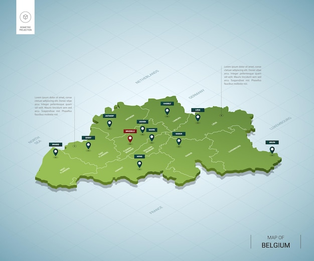 Stylizowana mapa belgii. izometryczna zielona mapa 3d z miastami, granicami, stolicą brukseli i regionami.