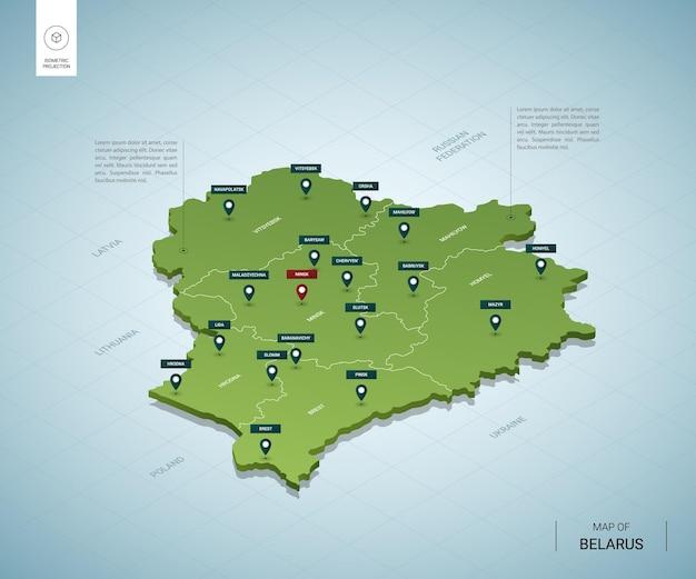 Stylizowana mapa białorusi. izometryczna zielona mapa 3d z miastami, granicami, stolicą mińsk i regionami.