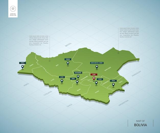Stylizowana mapa boliwii. izometryczna zielona mapa 3d z miastami, granicami, stolicą sucre i regionami.