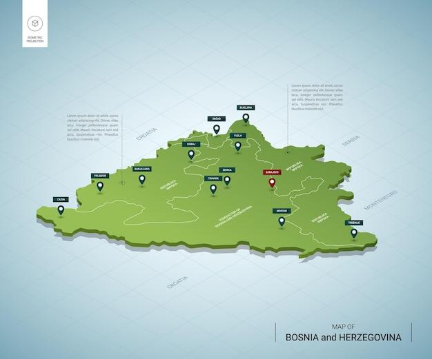 Stylizowana mapa bośni i hercegowiny. izometryczna zielona mapa 3d z miastami, granicami, stolicą sarajewo i regionami.
