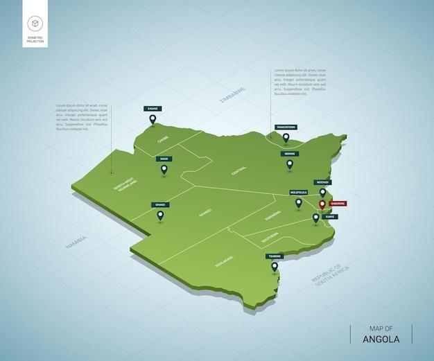 Stylizowana mapa botswany. izometryczna zielona mapa 3d z miastami, granicami, stolicą gaborone i regionami.