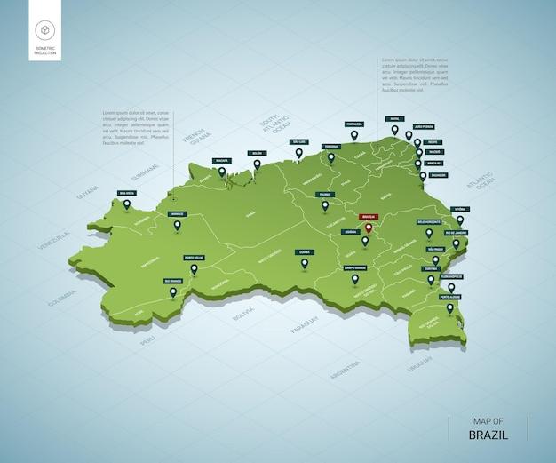 Stylizowana mapa brazylii. izometryczna zielona mapa 3d z miastami, granicami, stolicami i regionami.
