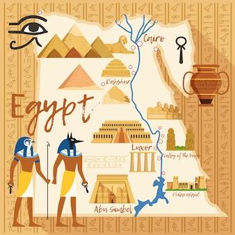 Stylizowana mapa egiptu z różnymi obiektami kultury