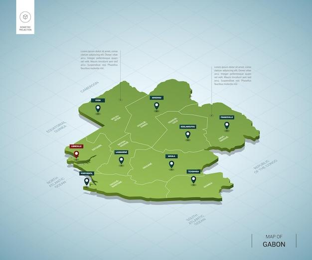 Stylizowana mapa gabonu. izometryczna zielona mapa 3d z miastami, granicami, stolicą libreville i regionami.