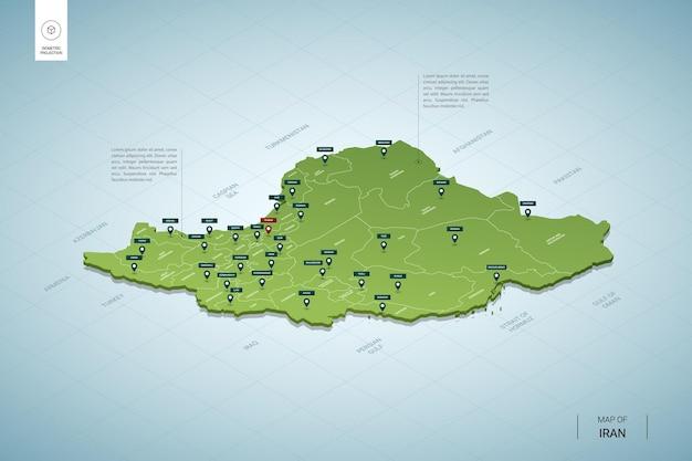 Stylizowana mapa iranu.
