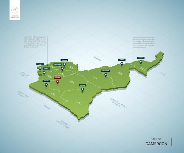 Stylizowana mapa izometrycznej 3d zielonej mapy kamerunu z miastami