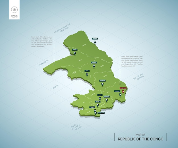Stylizowana mapa izometrycznej 3d zielonej mapy konga z miastami