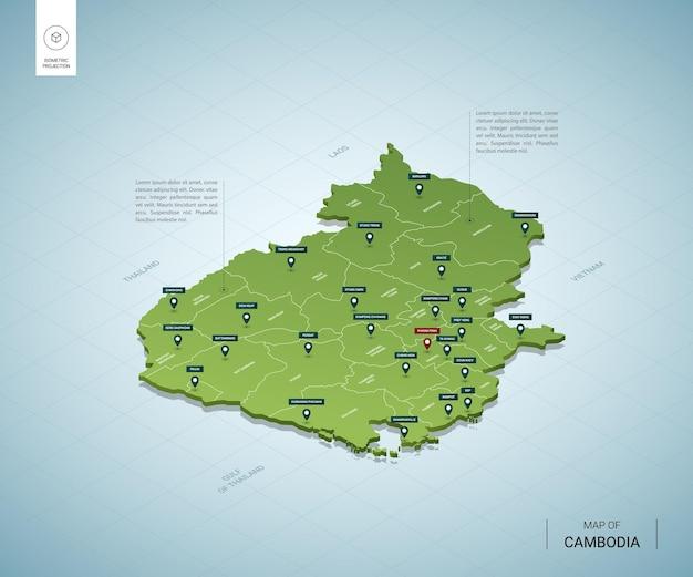 Stylizowana mapa kambodży izometryczna zielona mapa 3d z miastami
