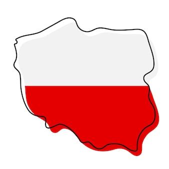 Stylizowana mapa konturowa polski z ikoną flagi narodowej. flaga kolor mapa polski ilustracji wektorowych.