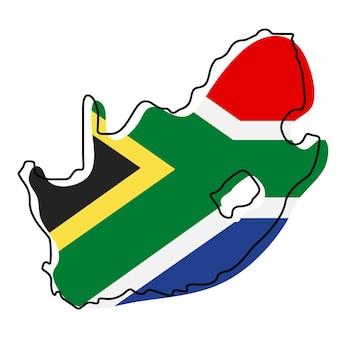 Stylizowana mapa konturowa republiki południowej afryki z ikoną flagi narodowej. flaga mapa kolorów ilustracji wektorowych republiki południowej afryki.