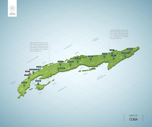 Stylizowana mapa kuby. izometryczna zielona mapa 3d z miastami, granicami, stolicą hawany i regionami.