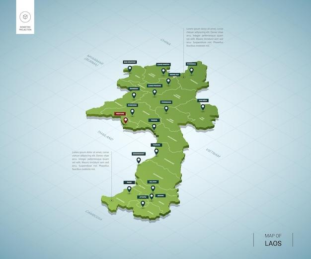 Stylizowana mapa laosu. izometryczna zielona mapa 3d z miastami, granicami, stolicą wientian i regionami.