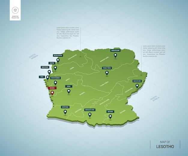 Stylizowana mapa lesotho. izometryczna zielona mapa 3d z miastami, granicami, stolicami i regionami.