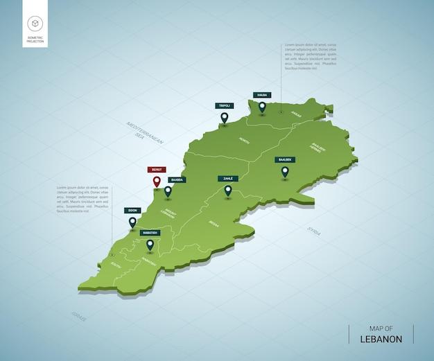Stylizowana mapa libanu. izometryczna zielona mapa 3d z miastami, granicami, stolicą bejrutu i regionami.