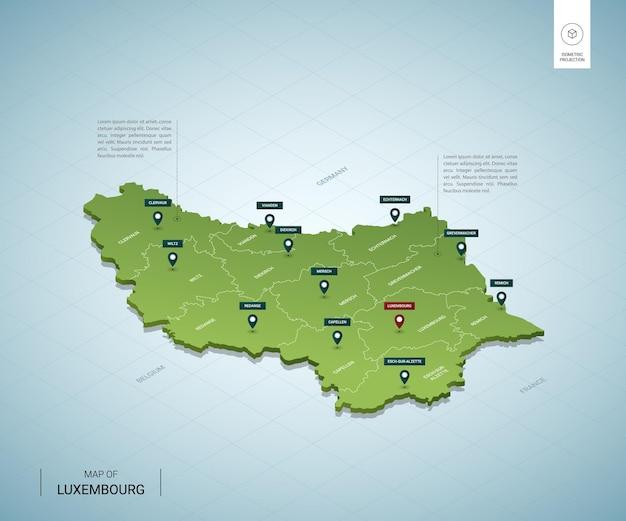 Stylizowana mapa luksemburga. izometryczna zielona mapa 3d z miastami, granicami, stolicami i regionami.