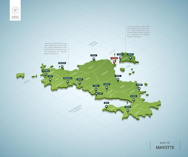 Stylizowana mapa majotty. izometryczna zielona mapa 3d z miastami, granicami, stolicami i regionami.