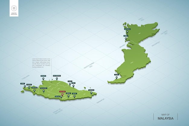 Stylizowana mapa malezji. izometryczna zielona mapa 3d z miastami, granicami, stolicą kuala lumpur i regionami.