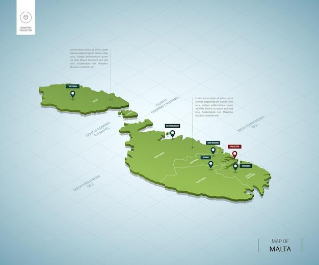 Stylizowana mapa malty. izometryczna zielona mapa 3d z miastami, granicami, stolicami i regionami.