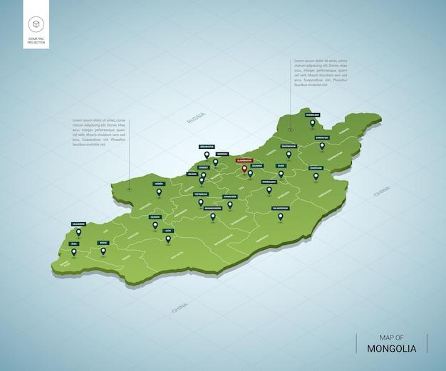 Stylizowana mapa mongolii. izometryczna zielona mapa 3d z miastami, granicami, stolicą ułan bator i regionami.